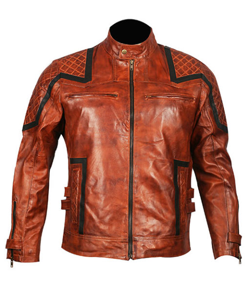 101 Tan Vintage Motor Biker Real Leather Jacket 1