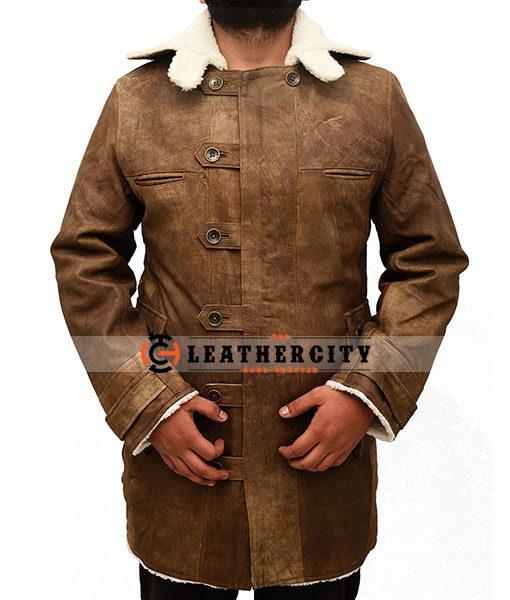 Tom Hardy Dunkler Ritter Rises Bane Shearling Modisch Leder Trenchcoat