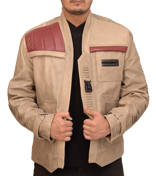 poe dameron real leather jacket with front click