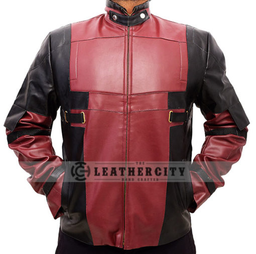 Deadpool Leather Jacket Worn by Ryan Reynolds Front