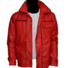 Elvis Presley Inspired Mens Red Leather Jacket-frnt