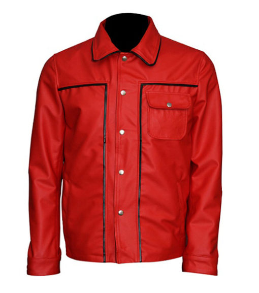 Elvis Presley Inspired Mens Red Leather Jacket-front
