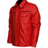 Elvis Presley Inspired Mens Red Leather Jacket-left