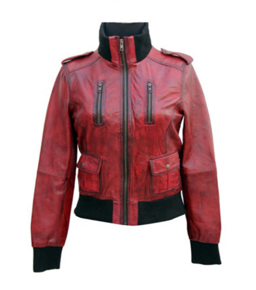 Ladies Cosmopolitan Fitted Fashion Genuine Leather Women Jacket front