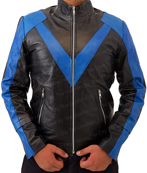 Men's Night wing Dick Grayson Superhero Real Leather Jacket Costume Front