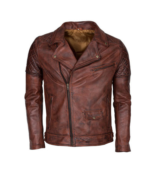 Men's Brando Biker Motorcycle Vintage Distressed Winter Leather Jacket 1