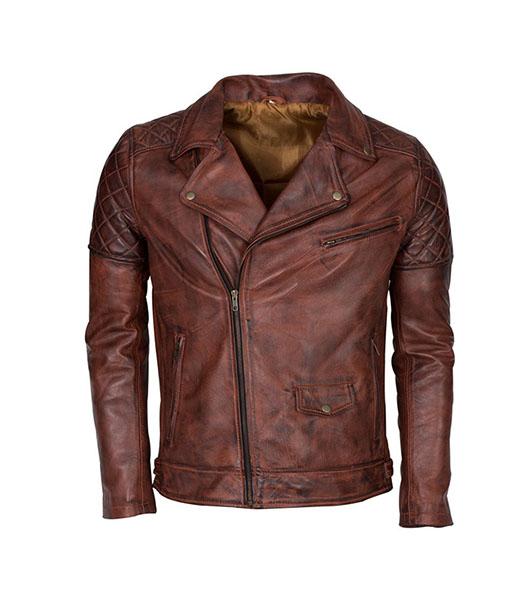 5d1671c25 Men's Brando Biker Motorcycle Vintage Distressed Winter Leather Jacket