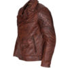 Men's Brando Biker Motorcycle Vintage Distressed Winter Leather Jacket 3