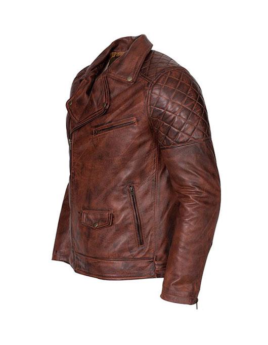 Vintage Leather Jacket >> Men S Brando Biker Motorcycle Vintage Distressed Winter Leather Jacket