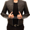 Superman Leather Jacket in Black Front Open