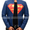 Superman Man Of Steel Leather Jacket – Blue and Yellow Front Open