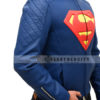 Superman Man Of Steel Leather Jacket – Blue and Yellow Left