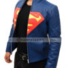 Superman Man Of Steel Leather Jacket – Blue and Yellow Right
