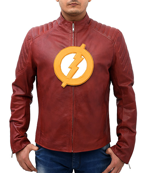 The Flash Season 2 Leather Jacket front