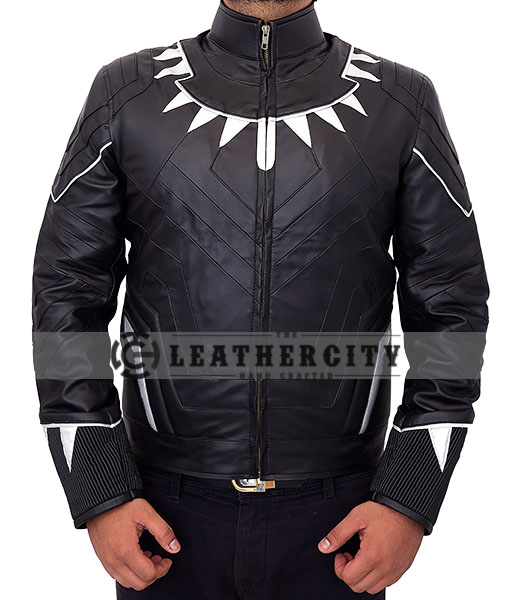 Black Panther Leather Jacket – Front with Silver Neck Spikes