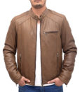 Heavy-duty Brown Leather Bomber Jacket