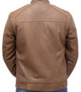 Heavy-duty Brown Leather Bomber Jacket back