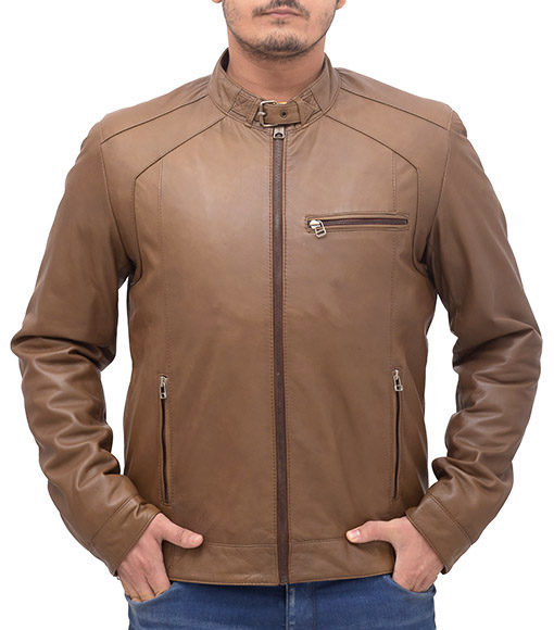 Heavy-duty Brown Leather Bomber Jacket front