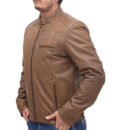 Heavy-duty Brown Leather Bomber Jacket left