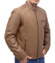 Heavy-duty Brown Leather Bomber Jacket right
