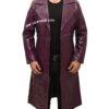 Jared Leto's Joker Purple Crocodile Coat Front open