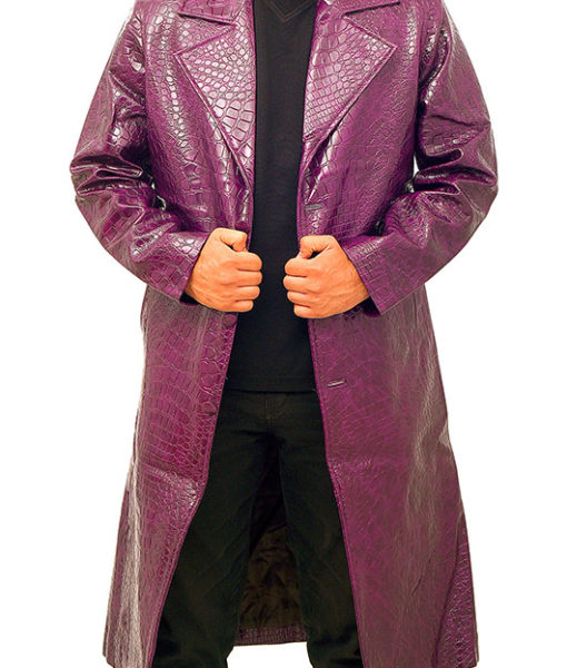 Jared Leto's Joker Purple Crocodile Coat front open