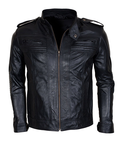 men detachable hooded aj styles motor biker leather jacket