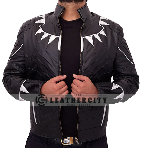 black panther leather jacket - open front