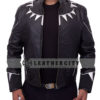 black panther leather jacket – neck spikes, open with straight hand