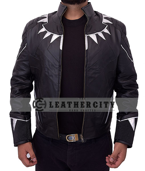 black panther leather jacket - open with straight hand