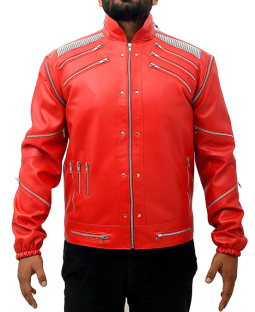 Michael Jackson Beat It Leather Jacket front Red