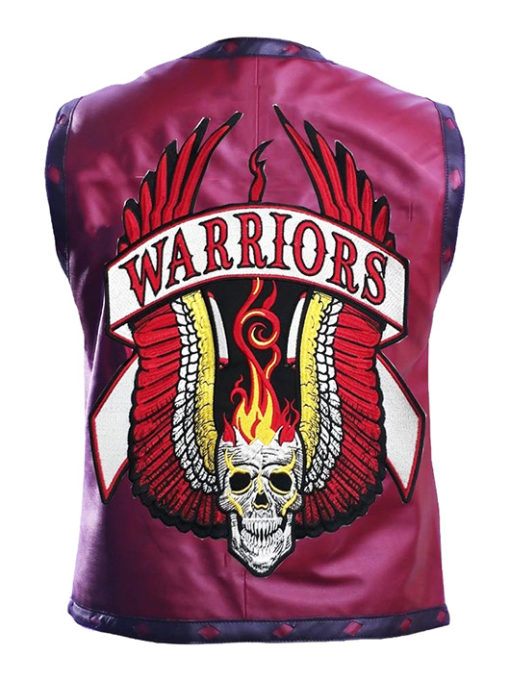 Warriors Leather Vest New Design Embroidery back