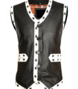 Warriors Leather Vest New Design Embroidery front