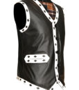 Warriors Leather Vest New Design Embroidery left