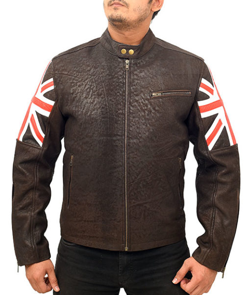 Vintage Cafe Racer Motorcycle Leather Jacket in Brown