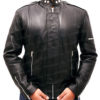 Daft Punk Electroma Hero Robot Rivet Black Leather Jacket Front Open