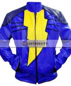Captain Marvel Shazam Leather Jacket - Blue