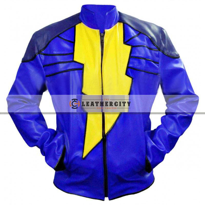 Captain Marvel Shazam Leather Jacket - Blue