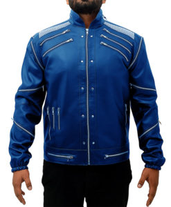 Michael Jackson Beat It Leather Jacket in Blue Color