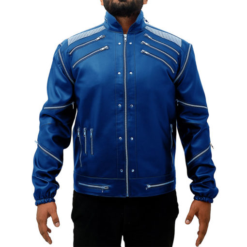 Michael Jackson Beat It Leather Jacket – Blue
