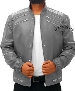 Michael Jackson Beat It Leather Jacket - Gray