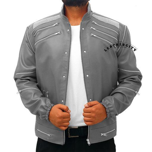 Michael Jackson Beat It Leather Jacket - Gray