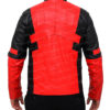 Deadpool Jacket in Red And Black Leather Back