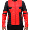 Deadpool Jacket in Red And Black Leather Front