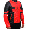 Deadpool Jacket in Red And Black Leather Left