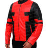 Deadpool Jacket in Red And Black Leather Right