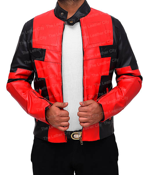 Deadpool Jacket in Red And Black Leather