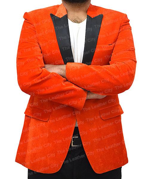 Kingsman's Taron Egerton Orange Tuxedo (4)
