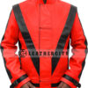 Michael Jackson Thriller Red with Blacked Strips Genuine Leather Jacket