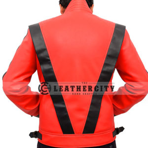 Michael Jackson Thriller Red and Black Genuine Leather Jacket Back